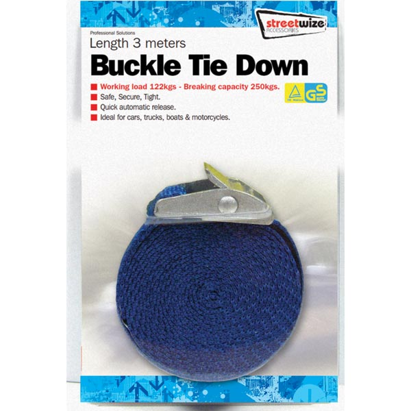 Streetwize 3 Metre Buckle StrapTie Downs (GS Tuv)