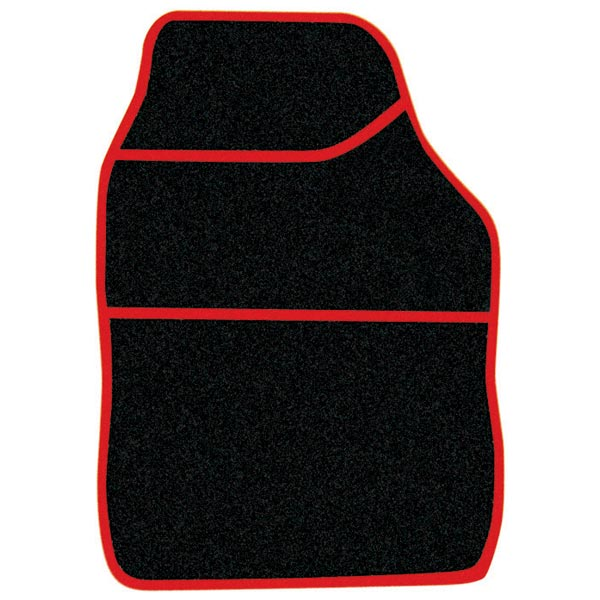 Streetwize 4 pce Carpet Mats Velour Black / Red binding