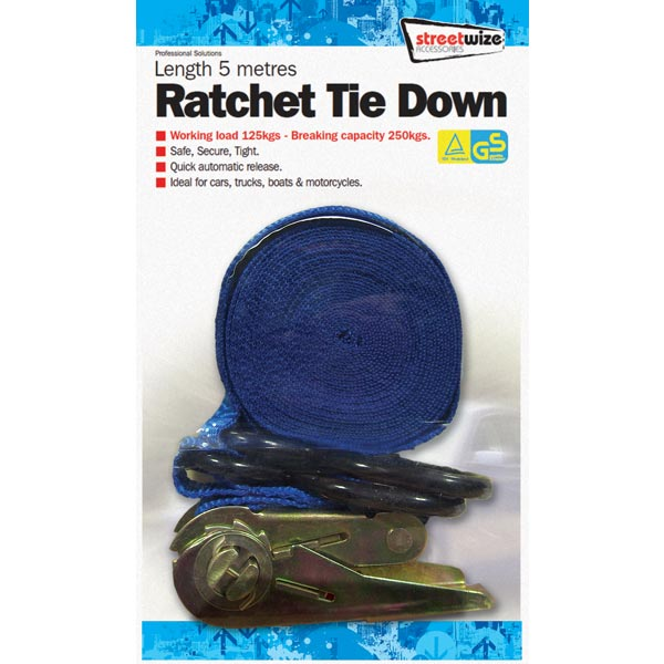 Streetwize 5 Metre Ratchet Tie Down with Hooks