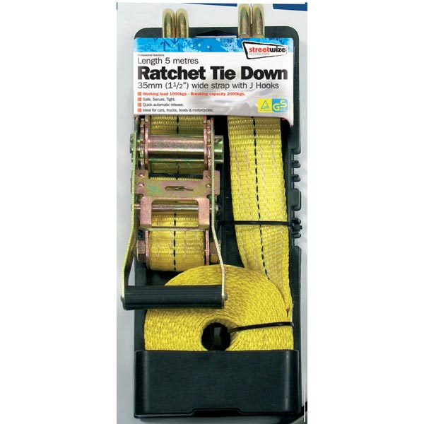 Streetwize 5 Metre Heavy Duty Commercial Ratchet Tie Down + J Hooks
