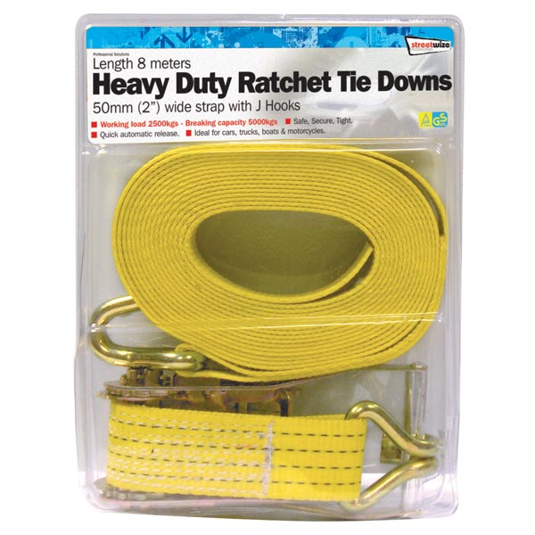 Streetwize 8 Metre H. Duty Commercial Ratchet Tie Down(50mm wide)