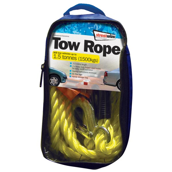Streetwize 1.5 Tonne Yellow Braided Tow Rope with 2 Metal S Hooks