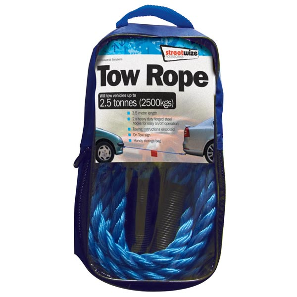 Streetwize 2.5 Tonne Blue Braided Tow Rope with 2 Metal S Hooks