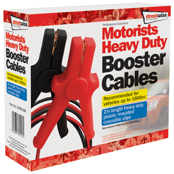Streetwize Boxed 2m Booster Cables Moulded Clips  for up to 1600cc