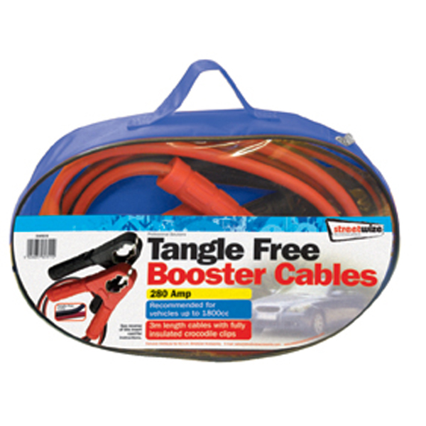 Streetwize 3 m Tangle Free Booster Cables  X HD Clip 280 Amp for up to 1800cc