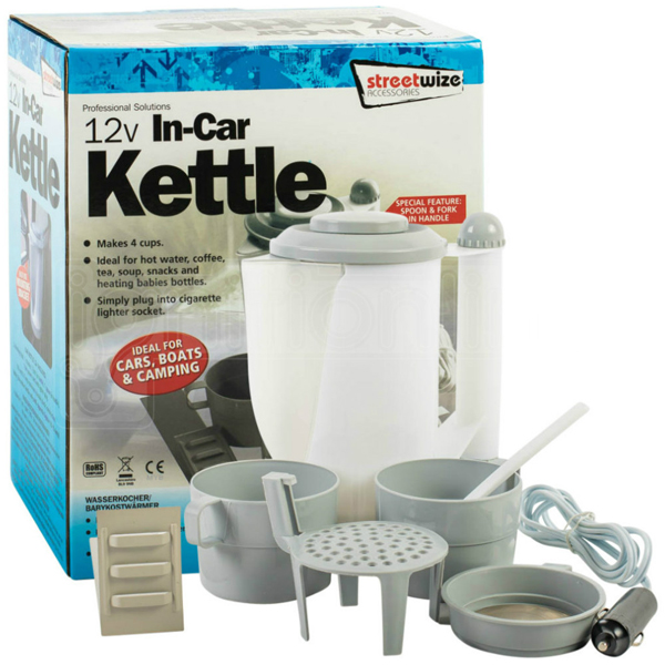 Streetwize 12v Travel Kettle with cups