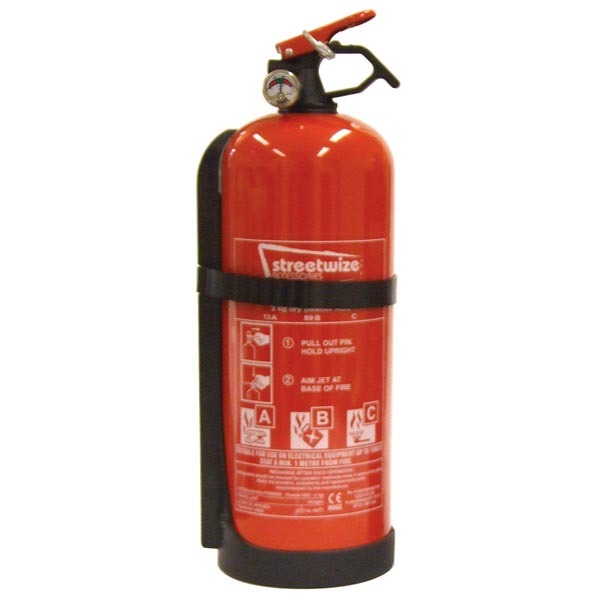 Streetwize Fire Extinguishers  (EN3/CE62 Standard) - 2 kg Dry Powder ABC+ Gauge