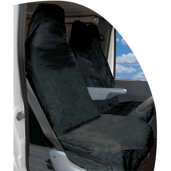 BLACK 1 x Front Single Heavy Duty Driver Captain Passenger Van Car Seat Cover Protector Waterproof For Mercedes Vito 2009