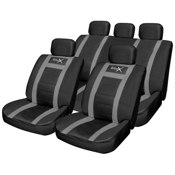 Streetwize Black / Grey Leather Look Seat Cover Set - 5 Headrest Covers, 2 Harness Pads & W