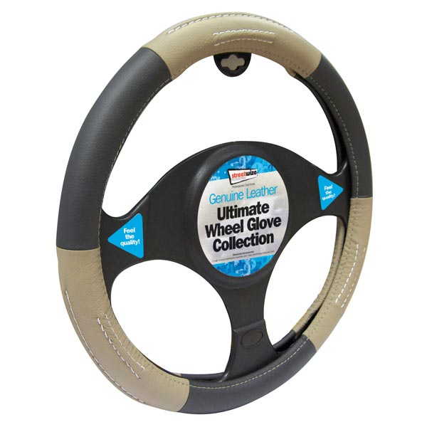 Streetwize Luxury Steering Wheel Cover - Leather Black/Beige
