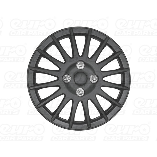 "Streetwize 15"" Matt Black Lightning Premium Wheel Cover Set"
