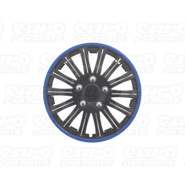 "Streetwize 14"" Lightning Sports  Black with  Blue Ring Wheel Cover Set"