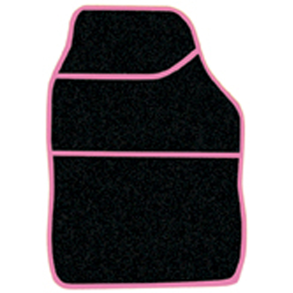 Streetwize 4 pce Carpet Mats Velour-Black/Pink Binding
