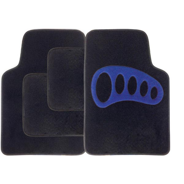 Streetwize 4 piece Carpet Mat Set with Blue Heel Pad