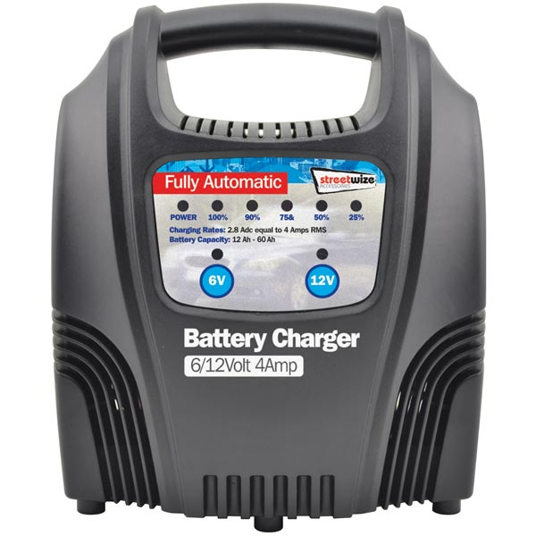 Streetwize 4amp Automatic Battery Charger with LEDs