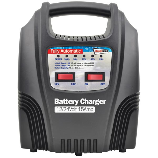 Streetwize 15 Amp Fully Automatic Battery Charger (6/12v )