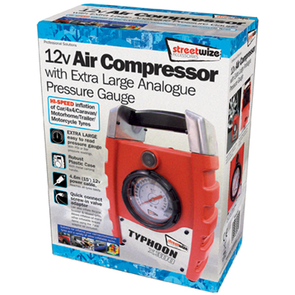 Streetwize 300psi Typhoon Air Compressor Hi Speed Large Gauge