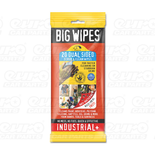Industrial+ 20s - Anti Bacterial plus Dual Sided Fabric, 20 wipes sachets