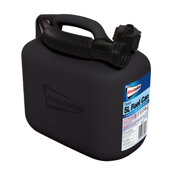 Streetwize 5L Plastic Black Fuel Can (Diesel)