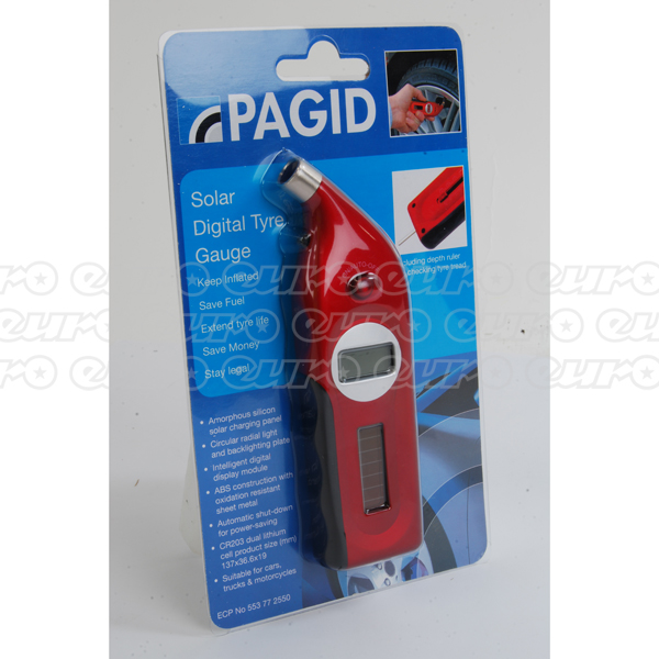 Pagid Digital Solar Powered Tyre Pressure Gauge