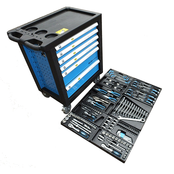 6 Drawer Tool Trolley + 159 pc Kit - Blue Edition