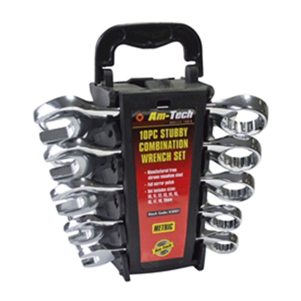 Am-Tech 10pc Stubby Combination Spanner Set
