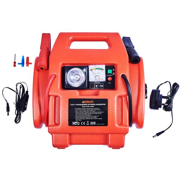 Am-Tech 3-In-1 Rechargeable Portable Jumpstarter