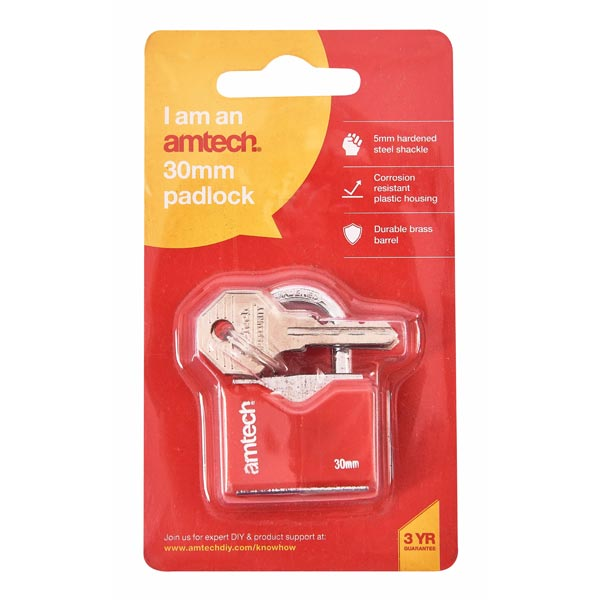 amtech 30mm Rhombic Chrome Plated Iron Padlock
