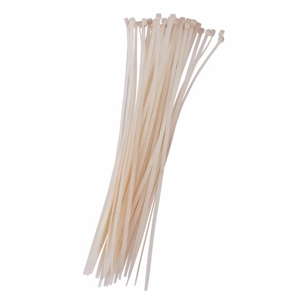 Am-Tech 40pc (3.6 X 300mm) Cable Tie - White