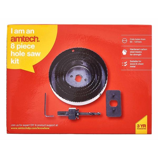 Am-Tech 8pc Hole Saw Kit