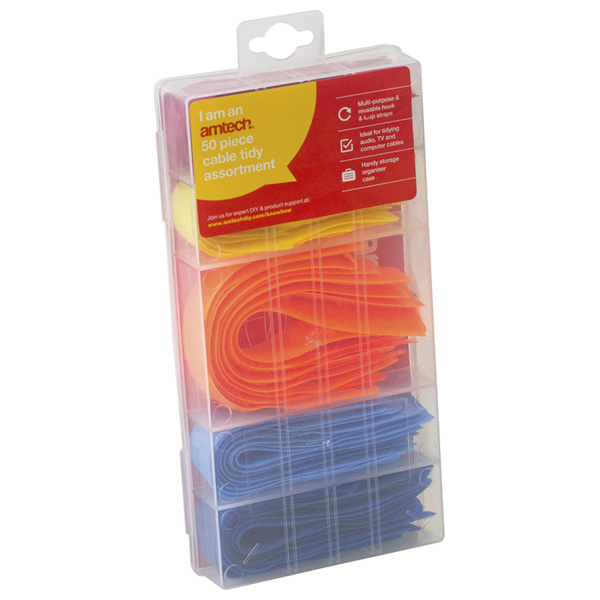 Am-Tech 50pc Cable Tidy Assortment