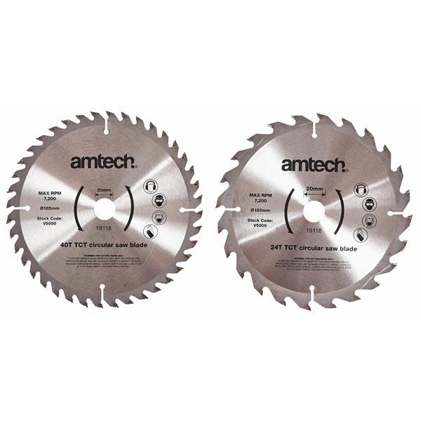 Am-Tech 2pc 185mm Circular Saw Blade Set (24T/40T)