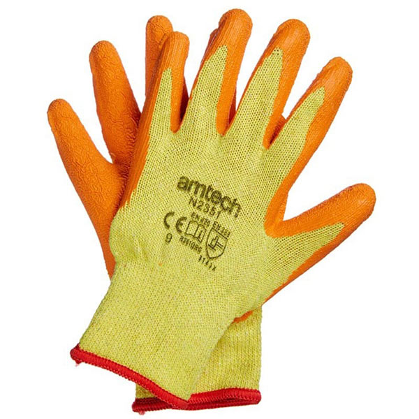 Am-Tech Latex Palm Coated Gloves Large Size 9