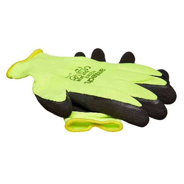 Am-Tech Hi-Vis Latex Coated Gloves Medium Size8