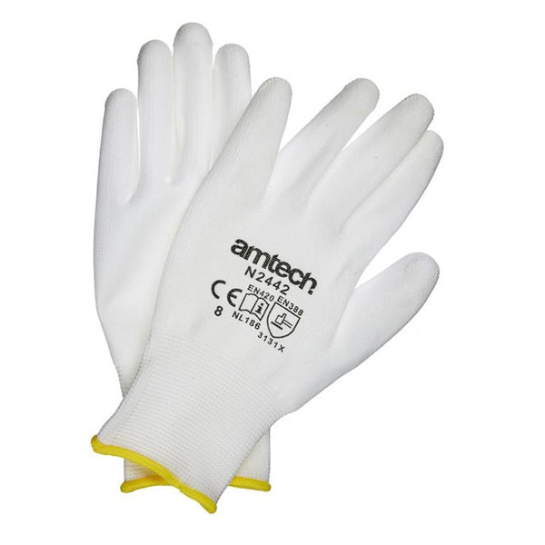 Am-Tech Light Duty PU Coated Work Gloves White Medium Size 8