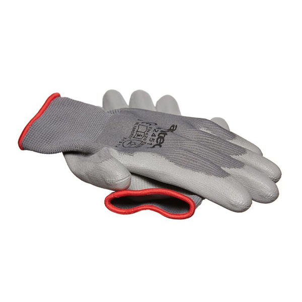 Am-Tech Light Duty PU Coated Palm Gloves Grey Large Size 9