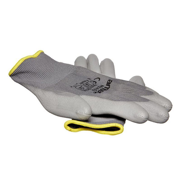 Am-Tech Light Duty PU Coated Palm Gloves Grey Medium Size 8