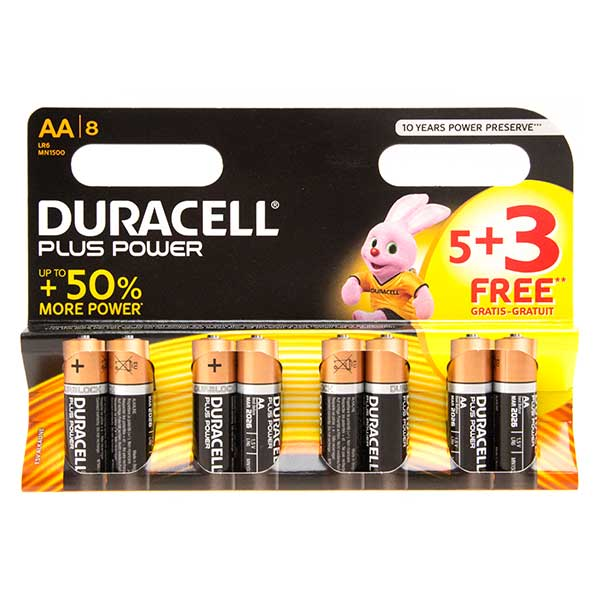 Duracell Plus Power AA Batteries - 5 + 3 FOC