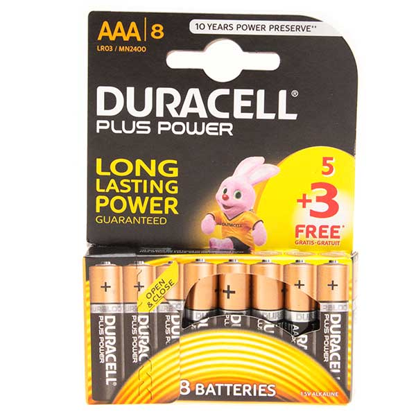Duracell Plus Power AAA Batteries 5 + 3 FOC