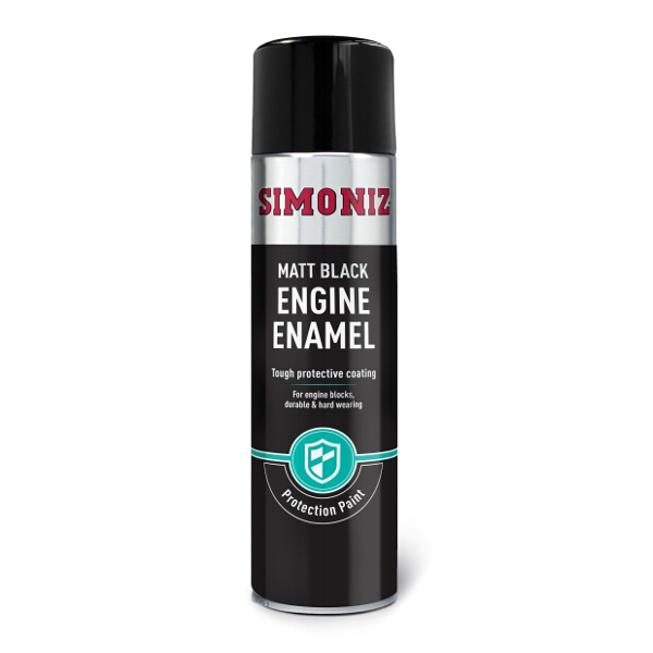 Simoniz Matt Black Engine Enamel Spray Paint 500ml