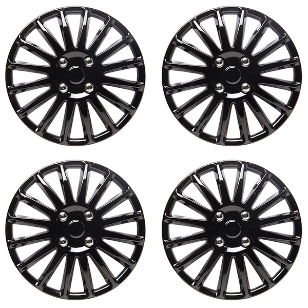 TopTech Velocity 13 Inch Wheel Trim Set Matt Black Set of 4 Hub Caps Covers