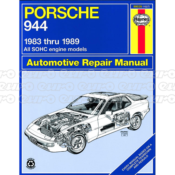 Haynes Workshop Manual Porsche 944 (83 - 89)