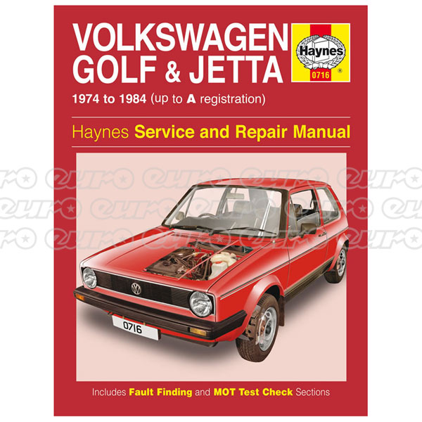Haynes Workshop Manual VW Golf & Jetta Mk 1 Petrol 1.1 & 1.3 (74 - 84) up to A