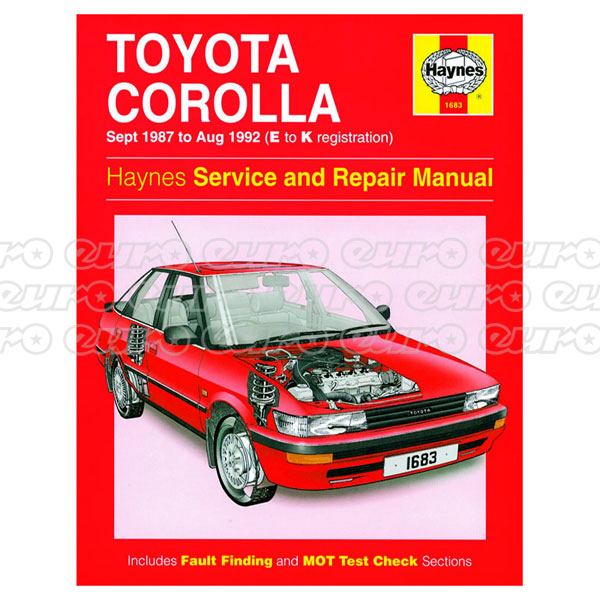 Haynes Workshop Manual Toyota Corolla (Sept 87 - Aug 92) E to K