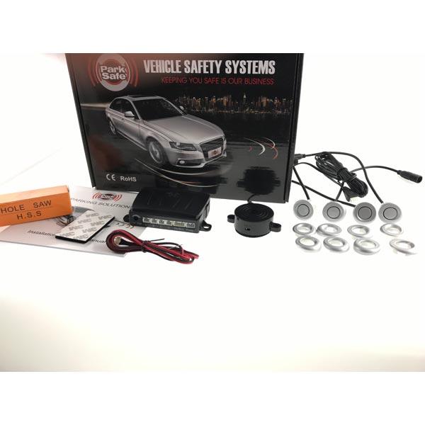Park Safe 4pc Angled Mount Parking Sensor Kit Front Silver