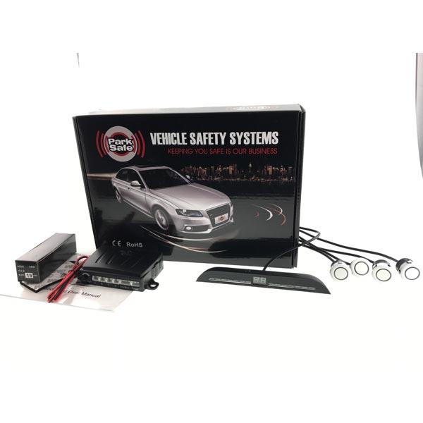 Park Safe 4pc Flat Mount Parking Sensor Kit With LED Display (Front) - White