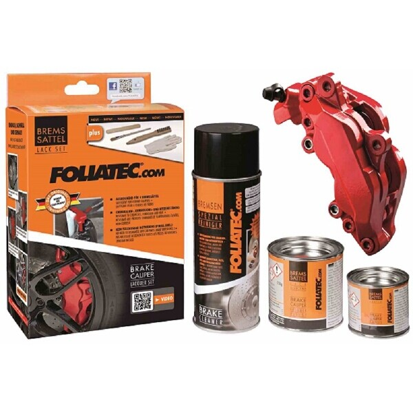Foliatec Brake Caliper Paint Set Rosso Red (Includes Cleaner, Brush, Gloves)