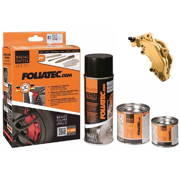 Foliatec Brake Caliper Paint Set Gold (Includes Cleaner, Brush, Gloves)