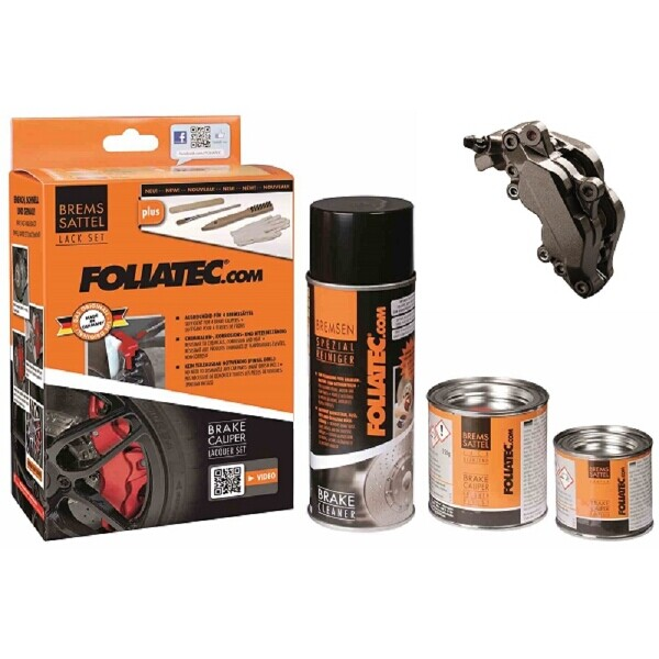 Foliatec Brake Caliper Paint Set Carbon Grey Metallic (Includes Cleaner, Brush, Gloves)