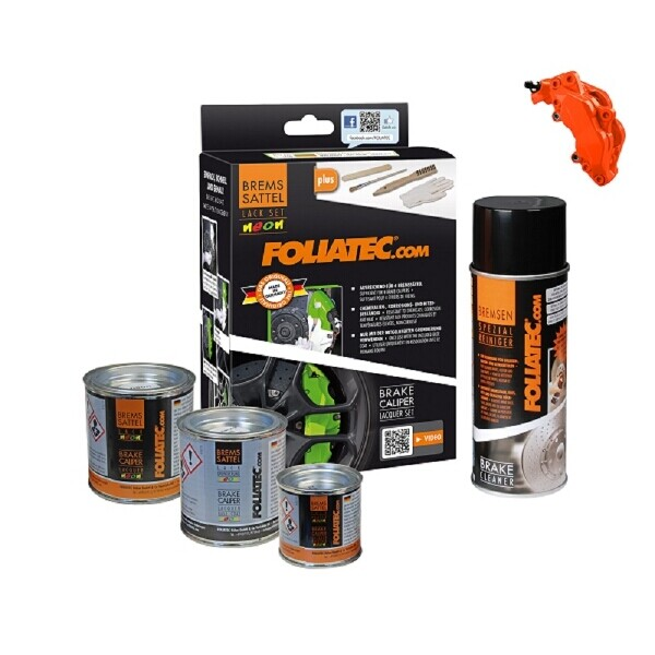 Foliatec Brake Caliper Paint Set Neon Orange (Includes Cleaner, Brush, Gloves)